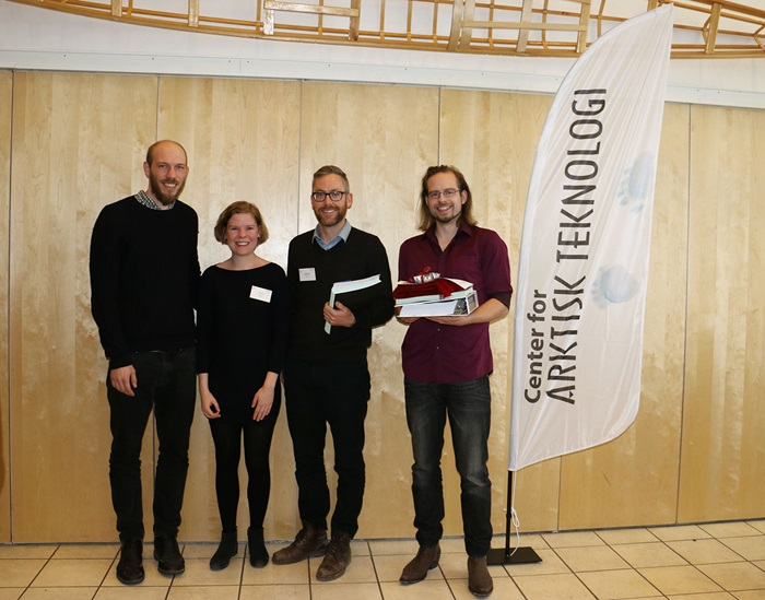 The top 3 in the Best Student Presentation Award at ARTEK Event 2016. From left: Andreas Konring and Camilla Tang (DTU), Jordan J. Schmidt (Dalhouise University) and Laurens van Gelderen (DTU).
